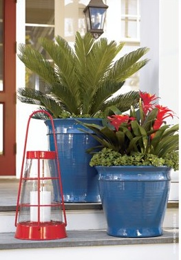 Lighthouse Lantern and Cleve Planters from Crate & Barrel